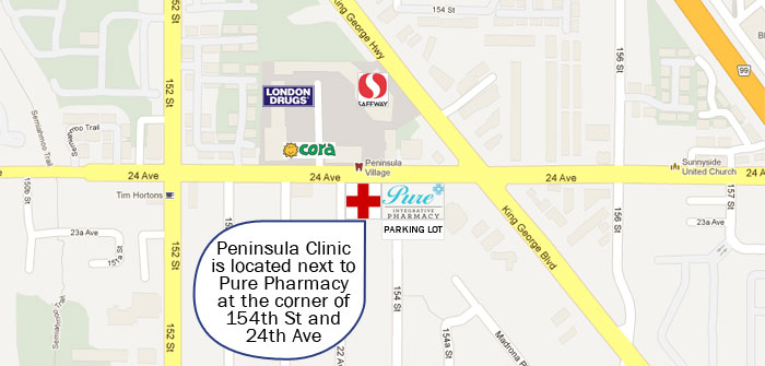 Map of Peninsula Medical Clinic